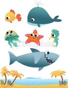 Collection of cartoon vector sea animals on white background Royalty Free Stock Vector Art Illustration Nautical Fonts, Animal Decor, Free Vector Art, Baby Gifts, Clip Art, Cartoon, Illustration, Ocean, Painting