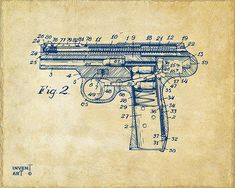 1911 Automatic Firearm Patent Artwork, copyright Nikki Smith, All Rights Reserved. This artwork series is based upon a 1911 Automatic Firearm Patent, great for a gun enthusiast, man cave or office and is available in a variety of styles.  Patent artwork makes great conversational pieces and look amazing in offices, dens and lobbies as decorative wall art. Most hobbies and jobs can be linked to specific patents for custom patent art.  Fine art prints at…