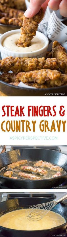 Fingers with Country Gravy Recipe This is worth trying at least once. Never crossed my mind to do this with steak.<br>Steak Fingers with Country Gravy Recipe This is worth trying at least once. Never crossed my mind to do this with steak. Beef Dishes, Food Dishes, Main Dishes, Kebabs, Def Not, Le Diner, Yummy Food, Good Food, Southern Recipes