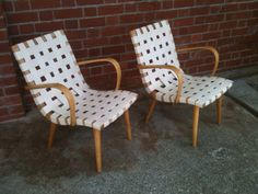 Restored patio chairs. Unusual to find these with such attractive elegant arms