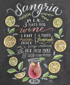 Lily & Val - Sangria Rezept (Englisch) Lily & Val Sangria recipe poster at Posterlounge ✔ Free shipp Summer Drinks, Cocktail Drinks, Alcoholic Drinks, Beverages, Cocktail Images, Summer Sangria, Chalkboard Designs, Chalkboard Art, Sangria Mix