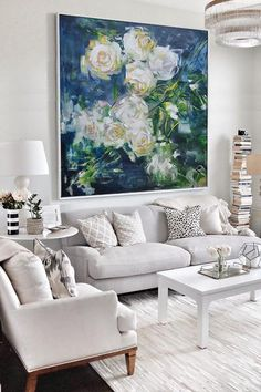 Large Abstract Flower Oil Painting, Floral art canvas painting, hand painted white rose painting on canvas.