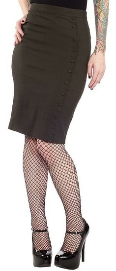 Army Green Bombshell Pencil Skirt by Sourpuss Clothing. Love the skirt not so much anything else