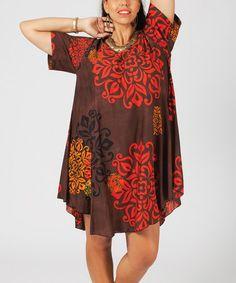Another great find on #zulily! Brown & Coral Medallion Round-Hem Scoop Neck Dress - Plus #zulilyfinds