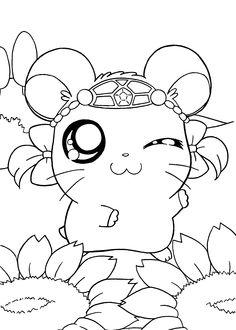 Hamtaro manga coloring pages for kids, printable free