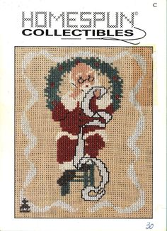 Homespun Collectibles 30 Santa Making A List Counted Cross Stitch OOP Vintage #HomespunCollectibles