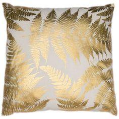 Tropical Leaves Gold Metallic Cushion   Graham & Brown UK Metallic Cushions, Gold Cushions, Lounge Cushions, Gold Accent Pillows, Gold Throw Pillows, Pink Bedroom Design, Gold Bedroom, Plum Living Rooms, Classy Living Room