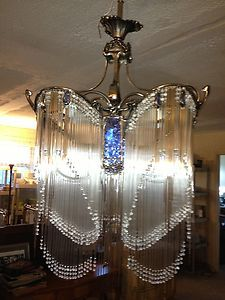 Art Deco 4 Tier Waterfall Chandelier 250 Hanging Crystal Tubes w Beads | eBay