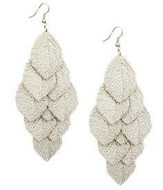 Silver Tone Dipped Leaves Style Chandelier Earrings