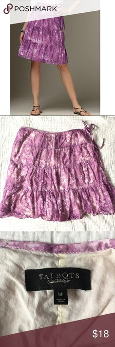 Talbots tiered spring skirt Cute Talbots knee length cotton skirt. Very good condition! Talbots Skirts A-Line or Full