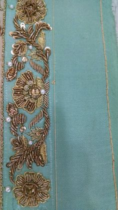Zardosi Embroidery, Pearl Embroidery, Embroidery Works, Embroidery Motifs, Embroidery Suits, Embroidery Fashion, Hand Embroidery Designs, Lesage, Gold Work