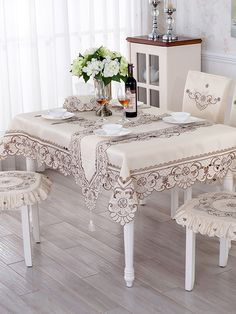 Shop Grey Flower Embroidery Hollow Out Table Cloth online at Jollychic,FREE SHIPPING!