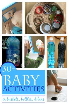 one year old activities that are in baskets, bottles, and bins.  There such easy ways to keep babies busy and learning, too!