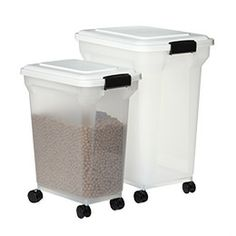 Mr Darcy says he would like these to keep his crunchy noms fresh. We got one last weekend and it works great! I keep a big scoop in it, and just roll it over to the feeder and fill'er up, then roll it back into the pantry.