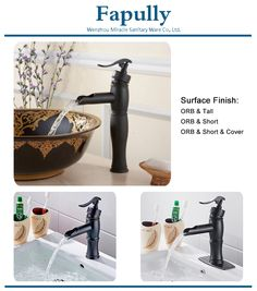 Fapully Oil Rubbed Bronze Black Waterfall Tall Basin Faucet 038b - Buy Tall Basin Faucet,Black Waterfall Faucet,Black Waterfall Tall Basin Faucet Product on Alibaba.com