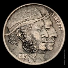 """Doubled Classic"" Hobo Nickel engraved by Aleksey Saburov."