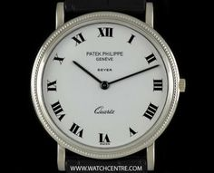 Patek Philippe 18k W/G Double Name Calatrava Quartz Retailed by Beyer 3744