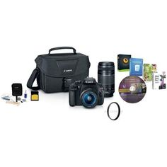 Canon EOS Rebel T5 DSLR Camera 2 Lens Kit with EF-S 18-55mm f/3.5-5.6 IS II Lens, and EF 75-300mm F/4-5.6 III Lens – Bundle With 16GB Class 10 SDHC Card, Camera Bag, Cleaning Kit, 2 58MM UV Filters, Pro Software Includes Corel PaintShop Pro X7, Corel After Shot Pro 2, Nuance OnmiPage 18, and FileCenter 7  http://www.lookatcamera.com/canon-eos-rebel-t5-dslr-camera-2-lens-kit-with-ef-s-18-55mm-f3-5-5-6-is-ii-lens-and-ef-75-300mm-f4-5-6-iii-lens-bundle-with-16gb-class-10-sdhc-card-camer..