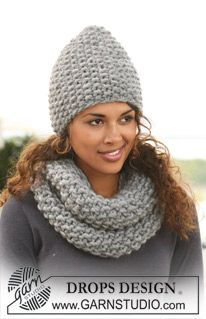 "Set comprises: DROPS hat and neck warmer in seed st in Polaris"". ~ DROPS Design"
