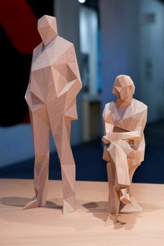 Drawing Seeing: Planar Stucture: Xavier Veilhan vs Tim Biskup Wood Carving Patterns, Wood Carving Art, Carving Designs, Geometric Sculpture, Abstract Sculpture, Sculpture Art, Xavier Veilhan, Origami, Anatomy Sculpture