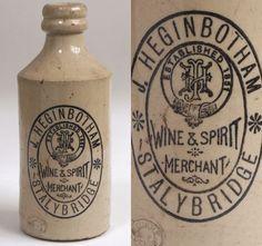 Victorian stoneware ginger beer bottle: J. Heginbotham, Stalybridge