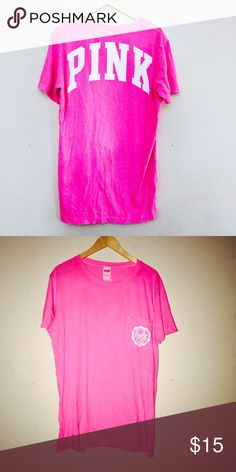 Victorias Secret Pink Oversized Campus Tee. Victorias Secret Pink Oversized Campus Tee. Gently used! Many new in package and gently used vs pink items available! Price firm unless bundled PINK Victoria's Secret Tops Tees - Short Sleeve