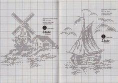 Schema punto croce Mulino a vento e barca monocolore | Hobby lavori femminili - ricamo - uncinetto - maglia