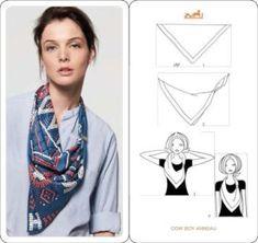 Как использовать шелковый платок с принтом чтобы полностью преобразить любой базовый образ - идеи от Hérmes (фото и описание).