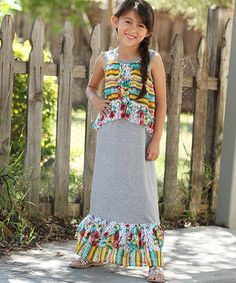 Another great find on #zulily! Heather Gray Floral & Stripe Overlay Maxi Dress - Girls by Freckles + Kitty #zulilyfinds