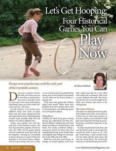 Let's Get Hooping: Four Historical Games You Can Play Now The Old Schoolhouse Magazine - April 2013 - Page Pioneer Day Activities, Pioneer Games, Pioneer Trek, Pioneer Life, Camping Games, Camping Crafts, Colonial Games, Craft Font, Pioneer Crafts