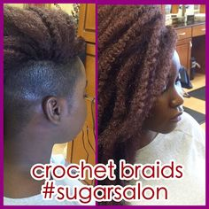 CROCHET BRAIDS WITH SHAVED SIDE, HAIR DONE BY M. WILLIAMS. CROCHET BRAIDS ARE A GREAT PROTECTIVE STYLE AND DOESN'T CAUSE BREAKAGE.