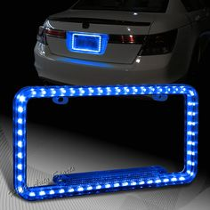 Universal 12v 54 Blue LED Lighting Acrylic Plastic License Plate Cover Frame