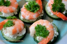 Amuse Bouche - cucumber, goat cheese, pepper, and shrimp. Shrimp Appetizers, Shrimp Recipes, Appetizer Recipes, Cooking Recipes, Healthy Recipes, Food Categories, Food Humor, Appetisers, Light Recipes