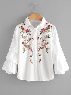 Blusa con bordado -Spanish SheIn(Sheinside)
