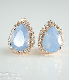 Crystal clip-on earrings. (Air Blue Opal & Bright Silver)
