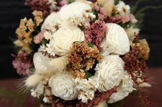 Petite Rustic Wedding Flower Girl Bouquet by SmokyMtnWoodcrafts, $35.00