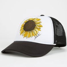 Cap off your outfit with hats & beanies from Tillys! Choose from baseball caps, trucker hats, cute beanies & more great hats for women! Sunflower Accessories, Sunflower Jewelry, Cute Beanies, Cute Hats, Outfits With Hats, Cute Outfits, Sunflower Print, Snapback Hats, Trucker Hats