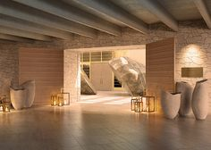 Delano Las Vegas' expansive stone entry will feature a wood-slatted gate and an extraordinary divided boulder from the Nevada desert. (Rendering) http://moderncircuit.com/las-vegas/hotels/delano-all-suite-hotel-brings-elevated-experience-to-las-vegas/