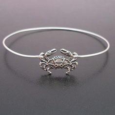 Little Crab Bracelet, Beach Jewelry, Silver Crab Bangle, Beach Bangle, Beach Bracelet, Cute Crab Jewelry, Cancer Zodiac Sign, Zodiac Jewelry. $17.95, via Etsy.