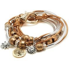 Lizzy James Boho with Gold Tree of Life Charm Trio Wrap Bracelet for... ($125) ❤ liked on Polyvore featuring jewelry, bracelets, charm wrap bracelet, flower jewelry, boho chic jewelry, gold bangles and gold wrap bracelet