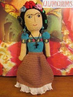 Muñeca Frida khalo Amigurumi - Patrón Gratis en Español aquí: http://www.galamigurumis.com/patron-de-frida-kahlo-amigurumi/