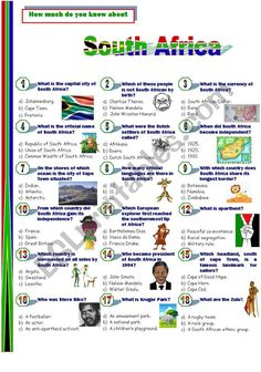 South Africa - ESL worksheet by Jayce Vocabulary Worksheets, Nelson Mandela, I Hope You, People Like, Esl, Quizzes, Did You Know, South Africa, Heart