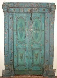 green painted door