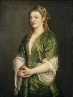 1555 Titian Tiziano Vercelli (Italian painter, 1488-1576) Portrait of a Lady
