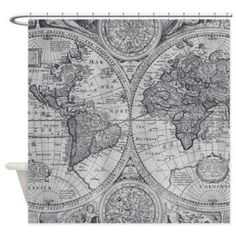 Brown map shower curtain brown and beige map travel decor home best world map shower curtain products on wanelo gumiabroncs Gallery