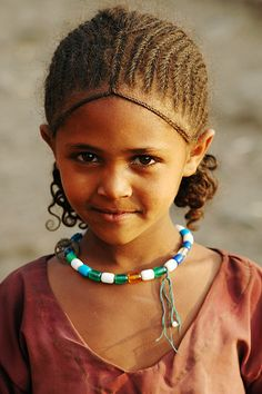 Ethiopian girl, braided hair