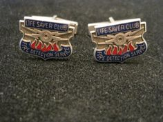 """$55 RARE VINTAGE """"Fire detection Service"""" Sterling Silver CUFFLINKS"""