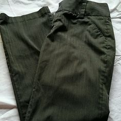 "Daisy Fuentes Dark Grey Striped Pants These have been hemmed to fit 5' 4"" person. Good condition without flaws. Zipper, button, and hook closure. Daisy Fuentes Pants Straight Leg"