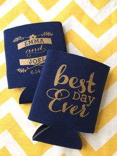 Best Day Ever Script Wedding Koozies by RookDesignCo on Etsy, $79.00