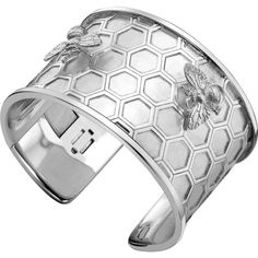 THEO FENNELL Sterling silver honeycomb bee cuff ($1,215) ❤ liked on Polyvore featuring jewelry, bracelets, sterling silver bangles, cuff bangle, theo fennell, sterling silver jewelry and sterling silver jewellery